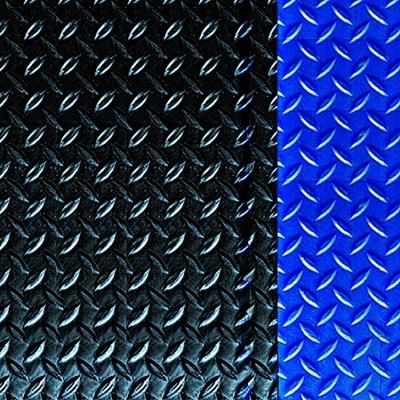 Diamond Deck Plate Anti-Fatigue Mat with Colored Borders -Blue Border