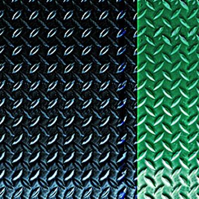Diamond Deck Plate Anti-Fatigue Mat with Colored Borders -Green Border