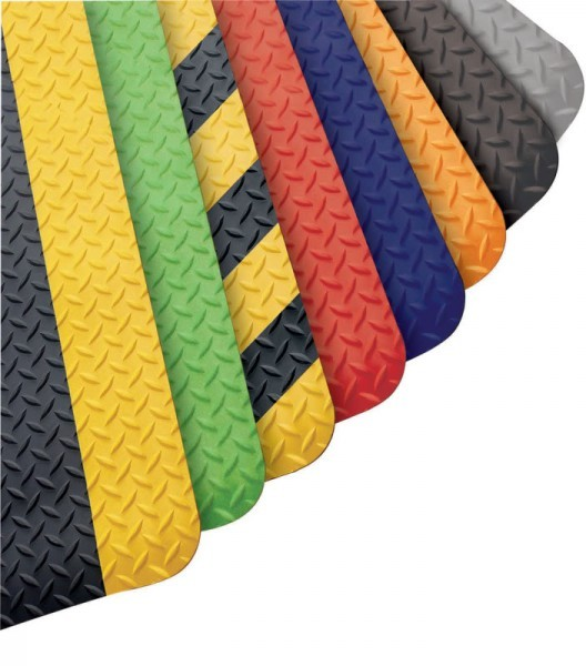 WORKERS DELIGHT DIAMOND DECK PLATE ANTI-FATIGUE MAT WITH COLORED BORDERS