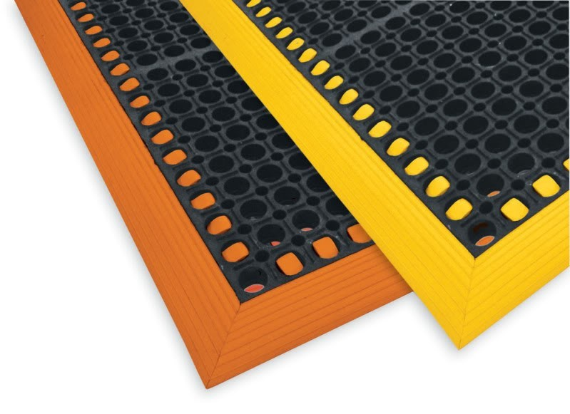 Safety Tru-Tread Rubber Mats -Orange or Yellow Borders